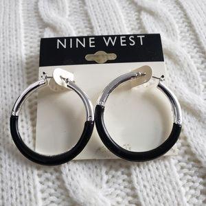 Nine West silver and black hoops earrings